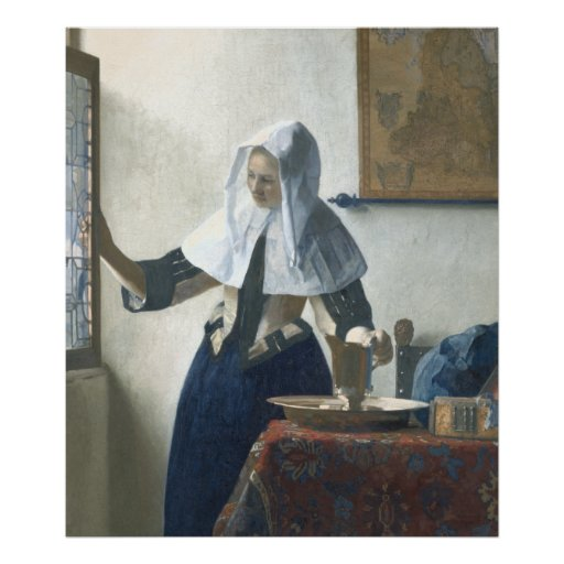 Young Woman with a Water Pitcher by Vermeer Poster