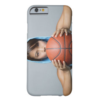 Young woman with basketball looking at camera barely there iPhone 6 case