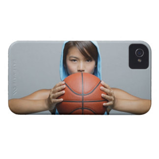Young woman with basketball looking at camera iPhone 4 Case-Mate case
