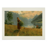 Young Woman with Birch Branches Poster