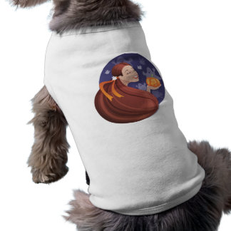 Young woman with Halloween pumpkin and boo ghost Sleeveless Dog Shirt