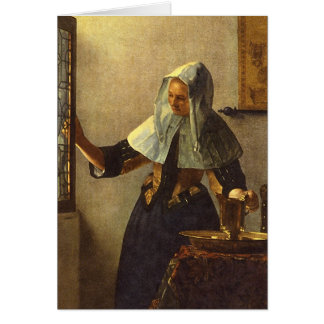 Young Woman with Water Pitcher - Johannes Vermeer Card