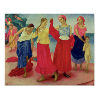 Young Women on the Volga, 1915 Poster