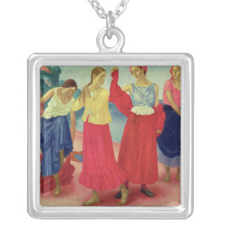 Young Women on the Volga, 1915 Square Pendant Necklace