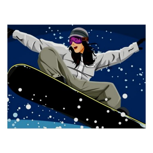 Young Women Snowboarding Poster