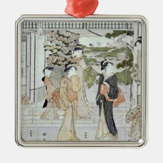 Young women with a basket of chrysanthemums christmas ornament