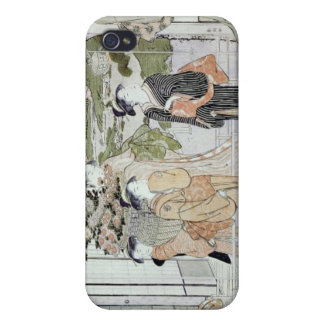 Young women with a basket of chrysanthemums iPhone 4/4S case
