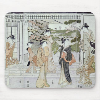 Young women with a basket of chrysanthemums mouse mat