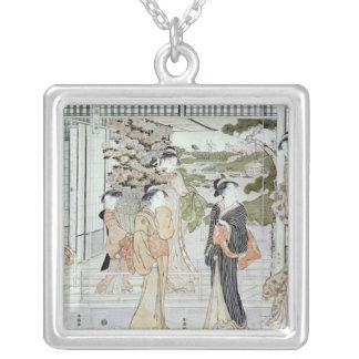 Young women with a basket of chrysanthemums silver plated necklace