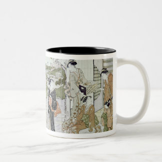 Young women with a basket of chrysanthemums Two-Tone coffee mug