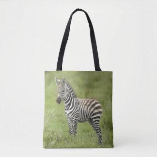 Young Zebra In The Serengeti Plain Tote Bag
