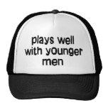 Younger men trucker hats
