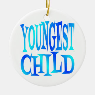 Youngest Child Text in Blue Round Ceramic Decoration