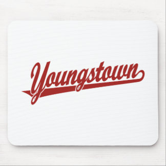 Youngstown script logo in red mouse pad