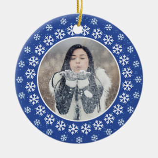 YOUR 2 PHOTOS in Snowflake Frames custom ornament