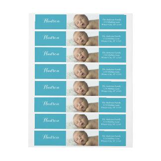 Your Baby Boy Photo Blue Return Address Wrap Around Label