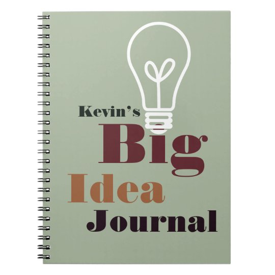 Your big idea journal modern light bulb grey