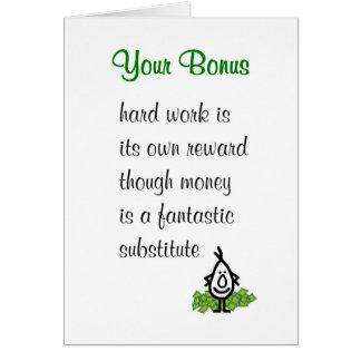 Your Bonus - a funny poem to accompany a bonus Greeting Card
