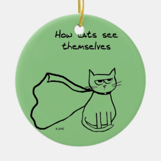 Your Cat the Superhero - Funny Cat Gift Round Ceramic Decoration