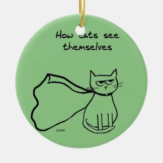 Your Cat the Superhero - Funny Cat Gift Round Ceramic Decoration