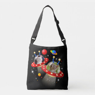 Your Cats in an Alien Spaceship UFO Sci Fi Scene Crossbody Bag