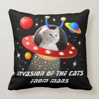Your Cats in an Alien Spaceship UFO Sci Fi Scene T Cushion