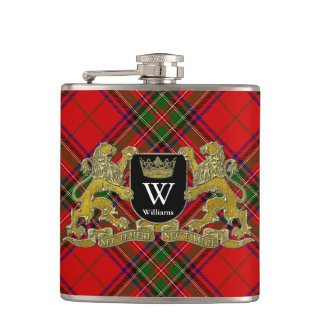 Your Coat of Arms Monogram and Tartan Hip Flask
