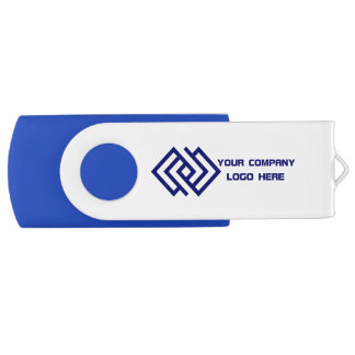 Your Company Logo Blue USB Flash Drive Swivel USB 2.0 Flash Drive