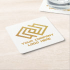 Your Company Logo Coasters Square White