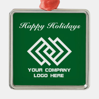 Your Company Logo Holiday Ornament Green Sq