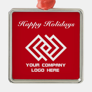 Your Company Logo Holiday Ornament Red Sq