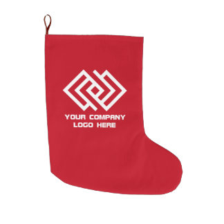 Your Company Logo Holiday Red Large Christmas Stocking