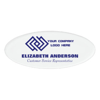 Your Company Logo Name Tag White Oval