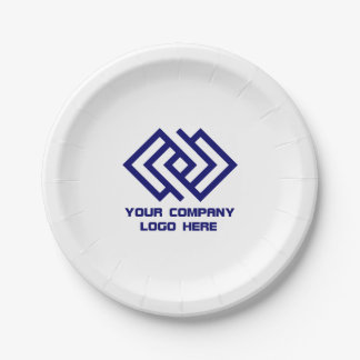 Your Company Logo Paper Plates White