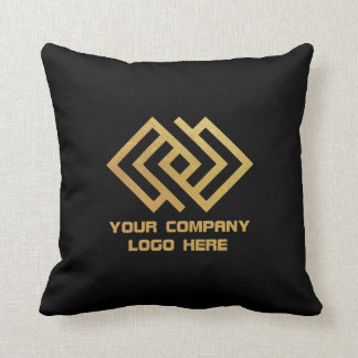 Your Company Logo Throw Pillow Black