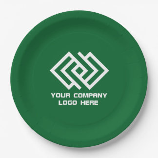 """Your Company Party Logo 9"""" Paper Plates Green"""