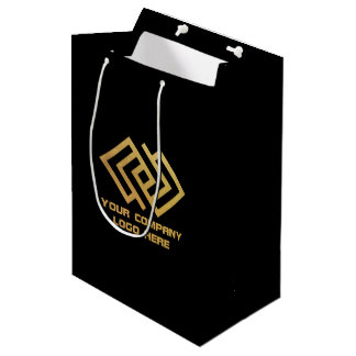 Your Company Party Logo Gift Bag Medium Black
