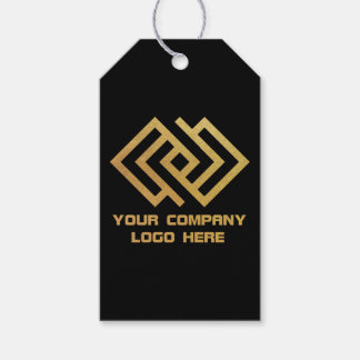 Your Company Party Logo Gift Tags Black