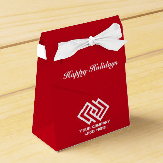 Your Company Party Logo Holiday Tent Favor Box Red