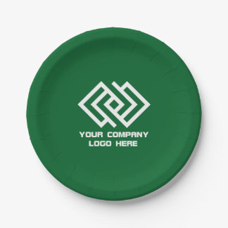 Your Company Party Logo Paper Plates Green 7 Inch Paper Plate