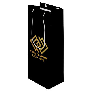 Your Company Party Logo Wine Gift Bag Black