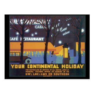 Your Continental Holiday_Vintage Travel Poster Postcard