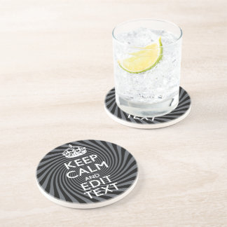 Your Custom Keep Calm Saying on Black Swirl Drink Coasters