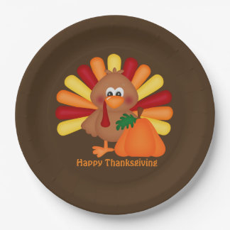 "Your Custom Paper Plates 9"" Thanksgiving Turkey 9 Inch Paper Plate"