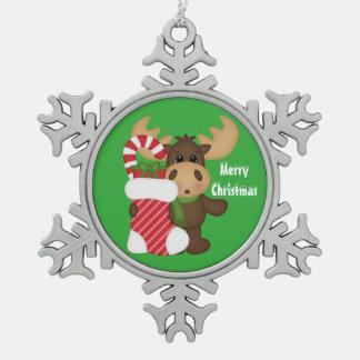Your Custom Pewter Snowflake Ornament moose