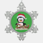 Your Custom Pewter Snowflake Ornament Penguin