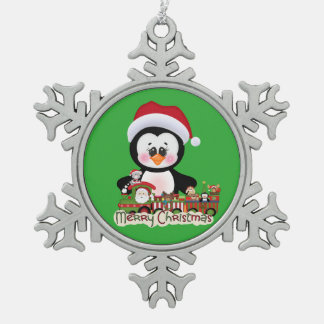 Your Custom Pewter Snowflake Ornament Penguin