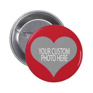 Your custom photo in red heart shape 6 cm round badge