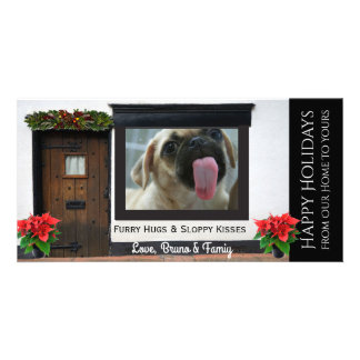 Your Dogs Christmas Licking Glass Personalised Photo Card