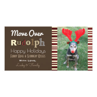 Your Dogs Christmas Reindeer w/Vertical Photo Card